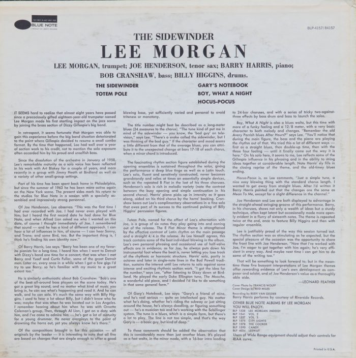 Lee Morgan - The Sidewinder_Album Back Cover