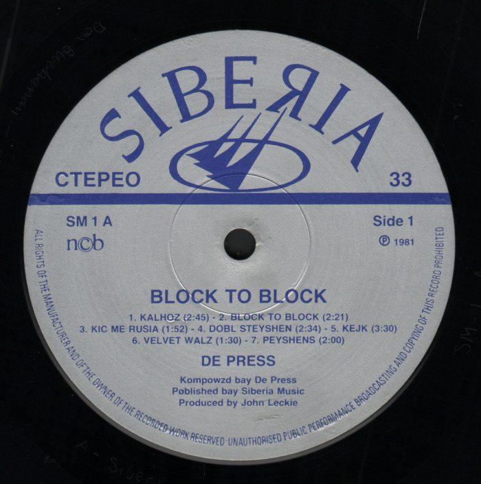 De Press - Block To Block_label