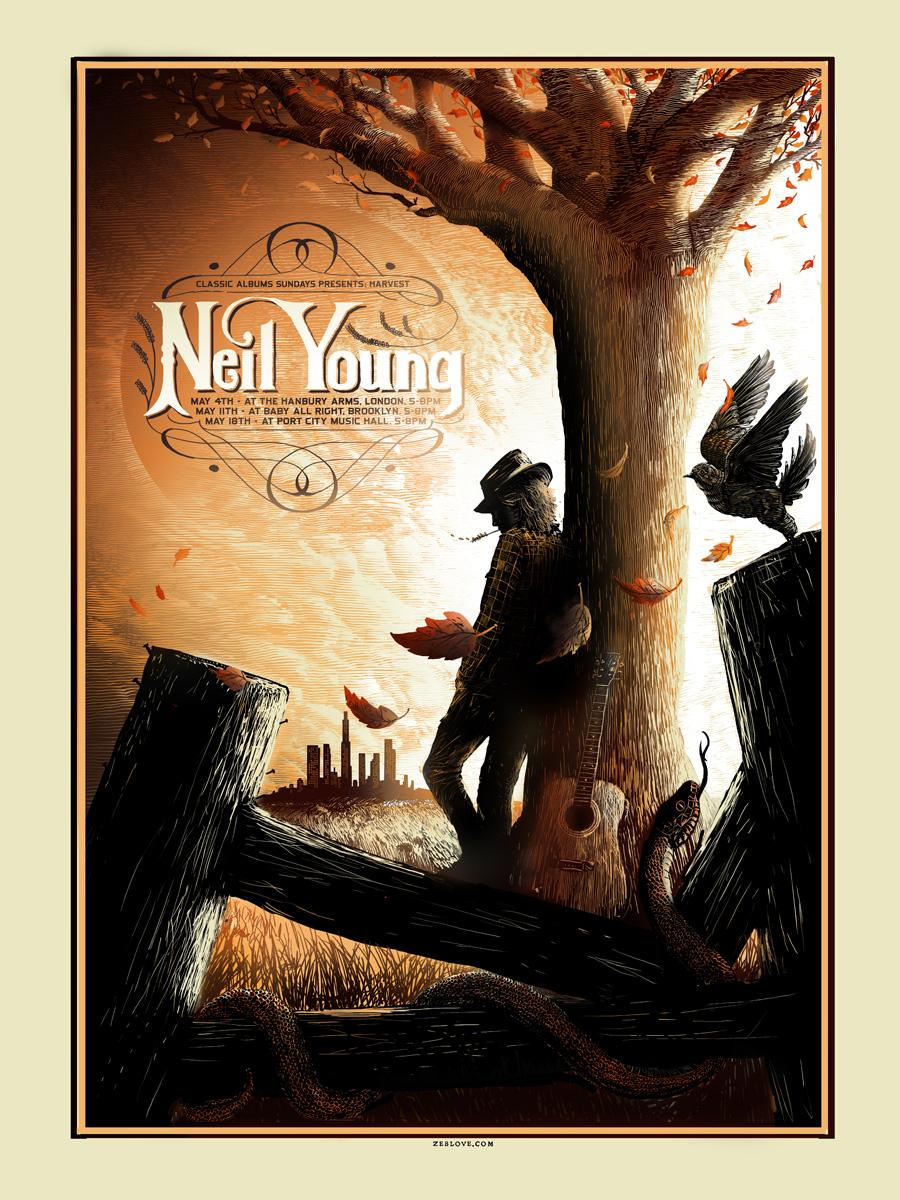 Neil Young Harvest Silk Screened Cas Tour Poster